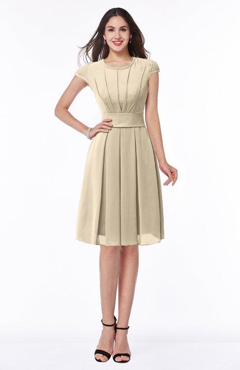ColsBM Maya Novelle Peach Modest A-line Short Sleeve Chiffon Knee Length Sash Plus Size Bridesmaid Dresses