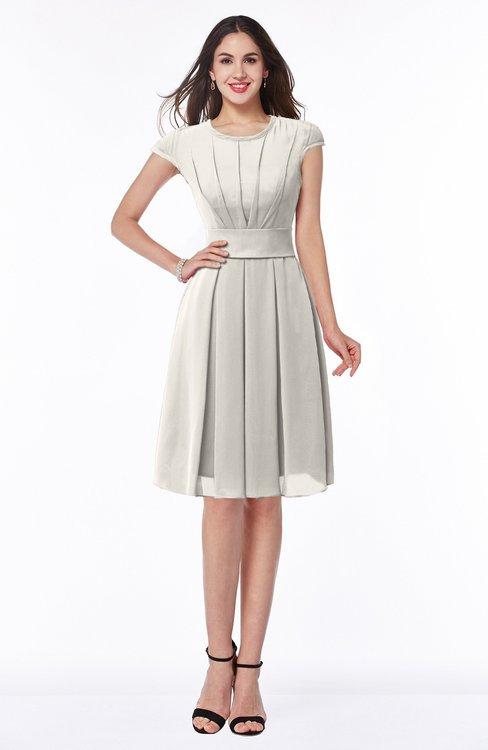 ColsBM Maya Off White Modest A-line Short Sleeve Chiffon Knee Length Sash Plus Size Bridesmaid Dresses