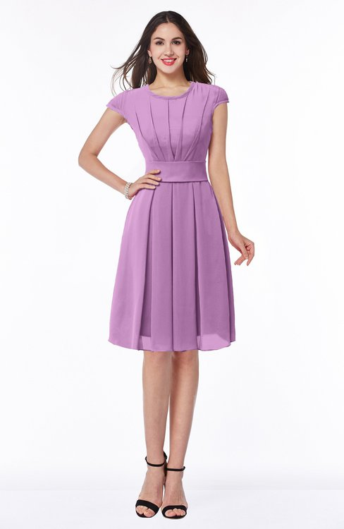 ColsBM Maya Orchid Modest A-line Short Sleeve Chiffon Knee Length Sash Plus Size Bridesmaid Dresses