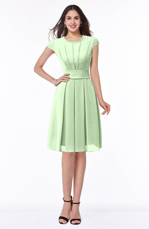 ColsBM Maya Pale Green Modest A-line Short Sleeve Chiffon Knee Length Sash Plus Size Bridesmaid Dresses
