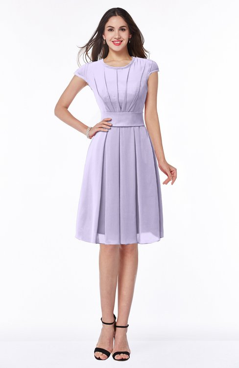 ColsBM Maya Pastel Lilac Modest A-line Short Sleeve Chiffon Knee Length Sash Plus Size Bridesmaid Dresses