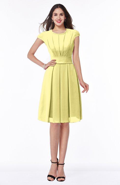 ColsBM Maya Pastel Yellow Modest A-line Short Sleeve Chiffon Knee Length Sash Plus Size Bridesmaid Dresses