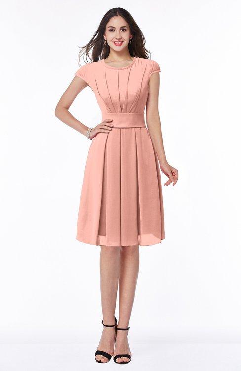 ColsBM Maya Peach Modest A-line Short Sleeve Chiffon Knee Length Sash Plus Size Bridesmaid Dresses