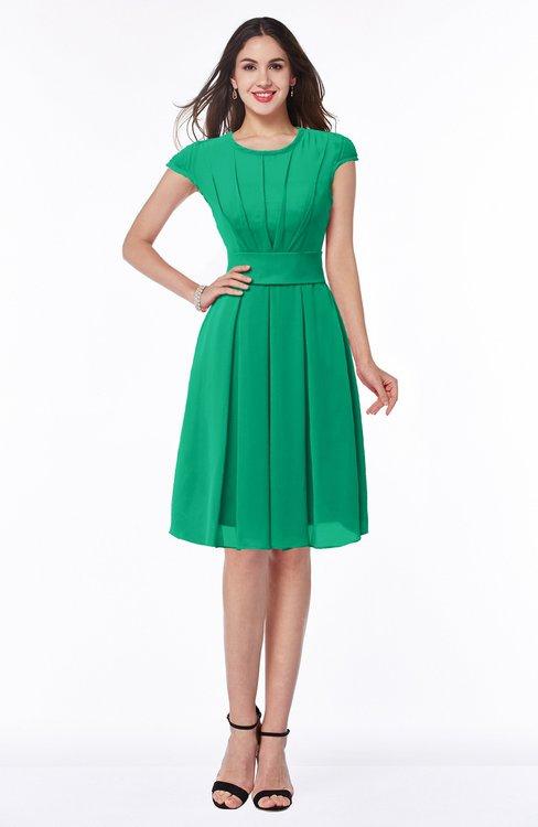 ColsBM Maya Pepper Green Modest A-line Short Sleeve Chiffon Knee Length Sash Plus Size Bridesmaid Dresses