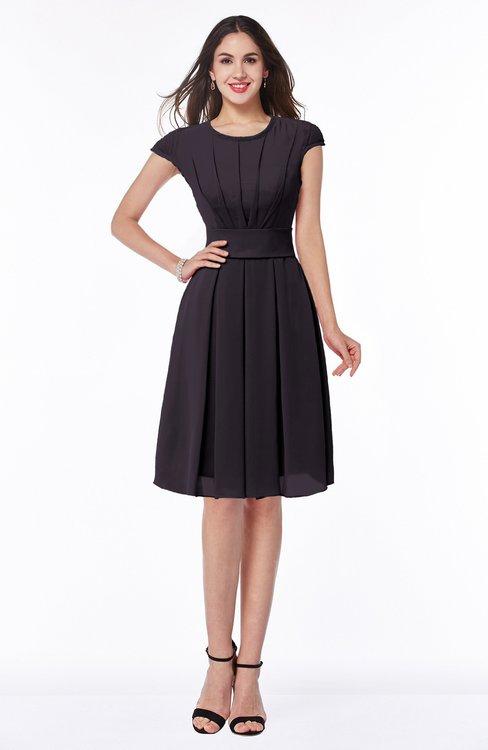 ColsBM Maya Perfect Plum Modest A-line Short Sleeve Chiffon Knee Length Sash Plus Size Bridesmaid Dresses