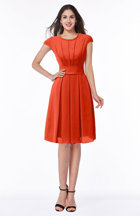ColsBM Maya Persimmon Modest A-line Short Sleeve Chiffon Knee Length Sash Plus Size Bridesmaid Dresses