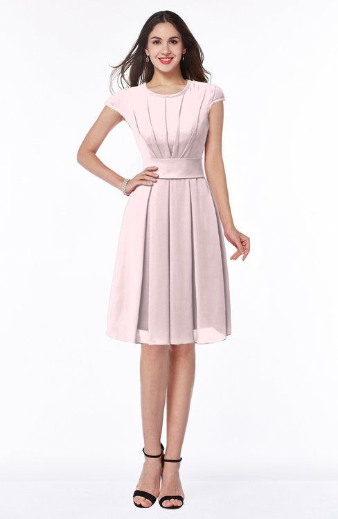 ColsBM Maya Petal Pink Modest A-line Short Sleeve Chiffon Knee Length Sash Plus Size Bridesmaid Dresses