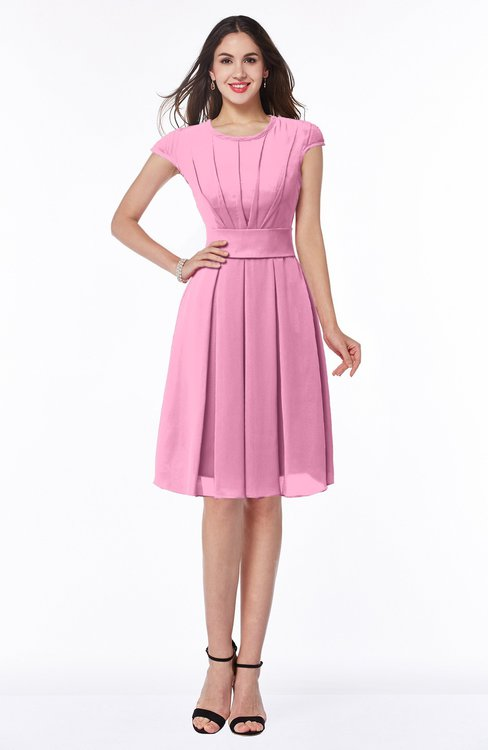 ColsBM Maya Pink Modest A-line Short Sleeve Chiffon Knee Length Sash Plus Size Bridesmaid Dresses