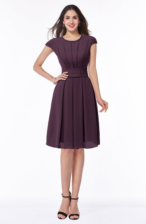 ColsBM Maya Plum Modest A-line Short Sleeve Chiffon Knee Length Sash Plus Size Bridesmaid Dresses