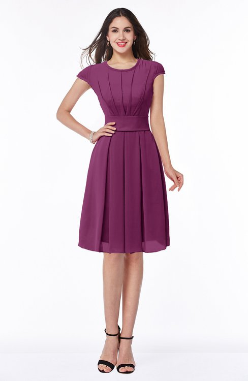 ColsBM Maya Raspberry Modest A-line Short Sleeve Chiffon Knee Length Sash Plus Size Bridesmaid Dresses