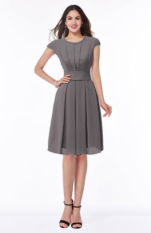 ColsBM Maya Ridge Grey Modest A-line Short Sleeve Chiffon Knee Length Sash Plus Size Bridesmaid Dresses