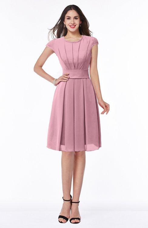 ColsBM Maya Rosebloom Modest A-line Short Sleeve Chiffon Knee Length Sash Plus Size Bridesmaid Dresses
