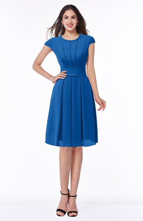 ColsBM Maya Royal Blue Modest A-line Short Sleeve Chiffon Knee Length Sash Plus Size Bridesmaid Dresses