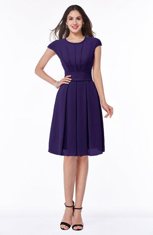 ColsBM Maya Royal Purple Modest A-line Short Sleeve Chiffon Knee Length Sash Plus Size Bridesmaid Dresses