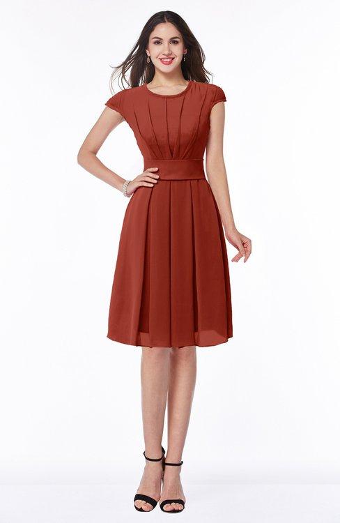 ColsBM Maya Rust Modest A-line Short Sleeve Chiffon Knee Length Sash Plus Size Bridesmaid Dresses