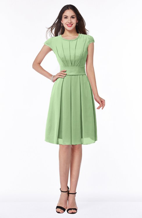 ColsBM Maya Sage Green Modest A-line Short Sleeve Chiffon Knee Length Sash Plus Size Bridesmaid Dresses