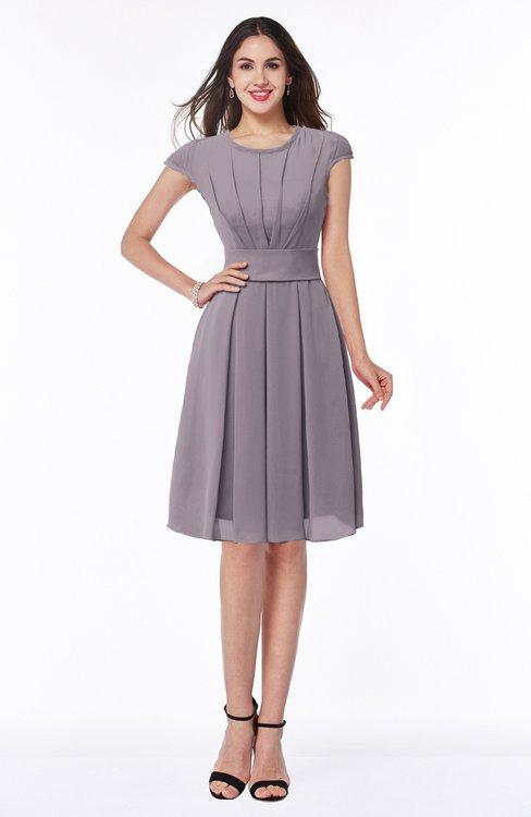 ColsBM Maya Sea Fog Modest A-line Short Sleeve Chiffon Knee Length Sash Plus Size Bridesmaid Dresses