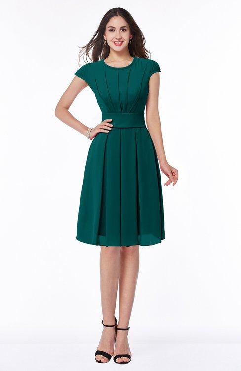 ColsBM Maya Shaded Spruce Modest A-line Short Sleeve Chiffon Knee Length Sash Plus Size Bridesmaid Dresses