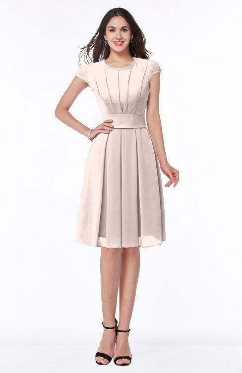 ColsBM Maya Silver Peony Modest A-line Short Sleeve Chiffon Knee Length Sash Plus Size Bridesmaid Dresses