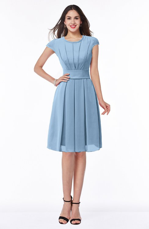 ColsBM Maya Sky Blue Modest A-line Short Sleeve Chiffon Knee Length Sash Plus Size Bridesmaid Dresses