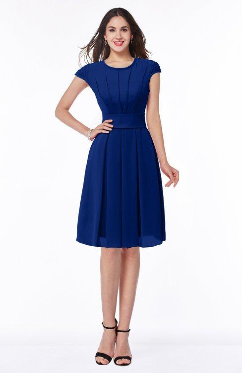 ColsBM Maya Sodalite Blue Modest A-line Short Sleeve Chiffon Knee Length Sash Plus Size Bridesmaid Dresses
