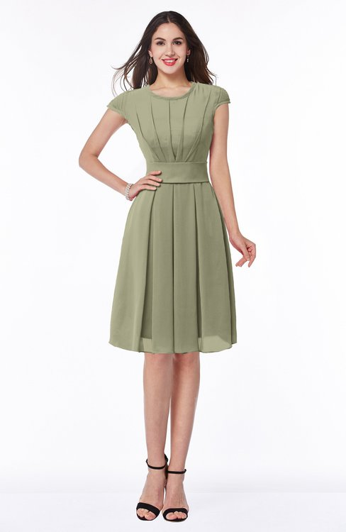 ColsBM Maya Sponge Modest A-line Short Sleeve Chiffon Knee Length Sash Plus Size Bridesmaid Dresses