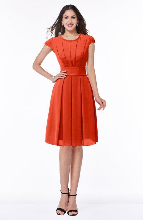 ColsBM Maya Tangerine Tango Modest A-line Short Sleeve Chiffon Knee Length Sash Plus Size Bridesmaid Dresses