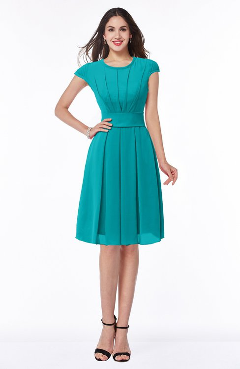 ColsBM Maya Teal Modest A-line Short Sleeve Chiffon Knee Length Sash Plus Size Bridesmaid Dresses
