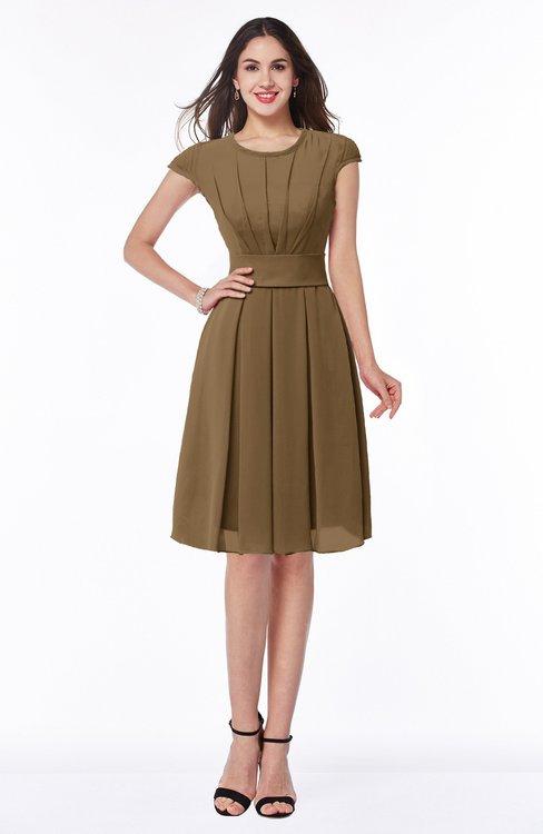 ColsBM Maya Truffle Modest A-line Short Sleeve Chiffon Knee Length Sash Plus Size Bridesmaid Dresses