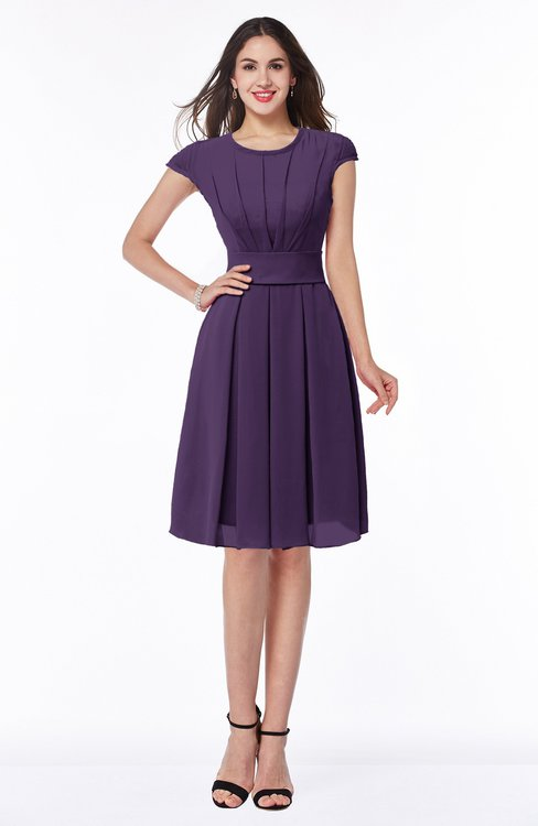 ColsBM Maya Violet Modest A-line Short Sleeve Chiffon Knee Length Sash Plus Size Bridesmaid Dresses