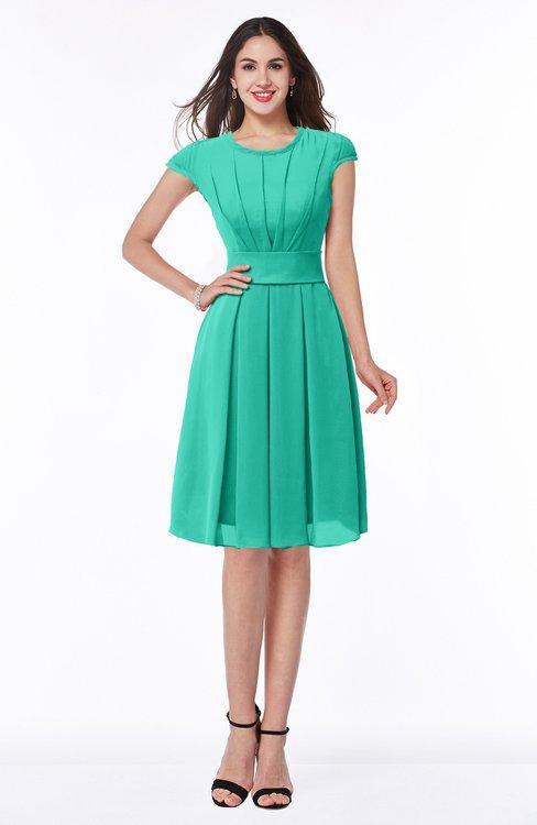 ColsBM Maya Viridian Green Modest A-line Short Sleeve Chiffon Knee Length Sash Plus Size Bridesmaid Dresses