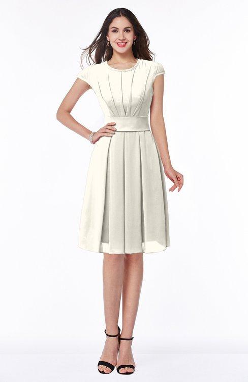 ColsBM Maya Whisper White Modest A-line Short Sleeve Chiffon Knee Length Sash Plus Size Bridesmaid Dresses