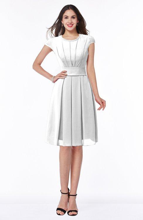 ColsBM Maya White Modest A-line Short Sleeve Chiffon Knee Length Sash Plus Size Bridesmaid Dresses