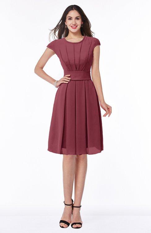 ColsBM Maya Wine Modest A-line Short Sleeve Chiffon Knee Length Sash Plus Size Bridesmaid Dresses