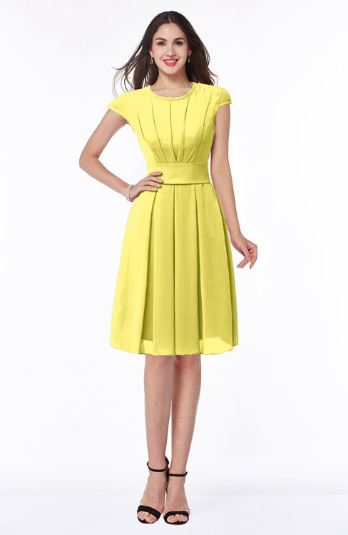 ColsBM Maya Yellow Iris Modest A-line Short Sleeve Chiffon Knee Length Sash Plus Size Bridesmaid Dresses