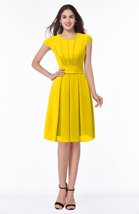 ColsBM Maya Yellow Modest A-line Short Sleeve Chiffon Knee Length Sash Plus Size Bridesmaid Dresses
