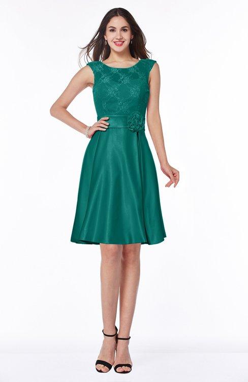 ColsBM Delilah Alpine Green Informal A-line Jewel Sleeveless Sash Plus Size Bridesmaid Dresses