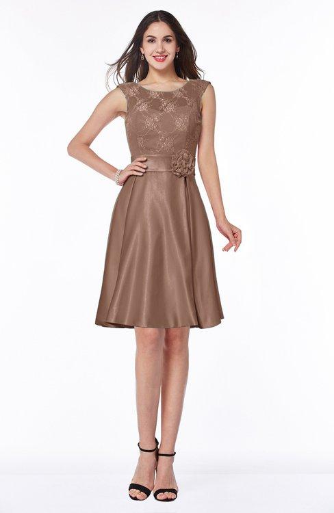 ColsBM Delilah Bronze Brown Informal A-line Jewel Sleeveless Sash Plus Size Bridesmaid Dresses