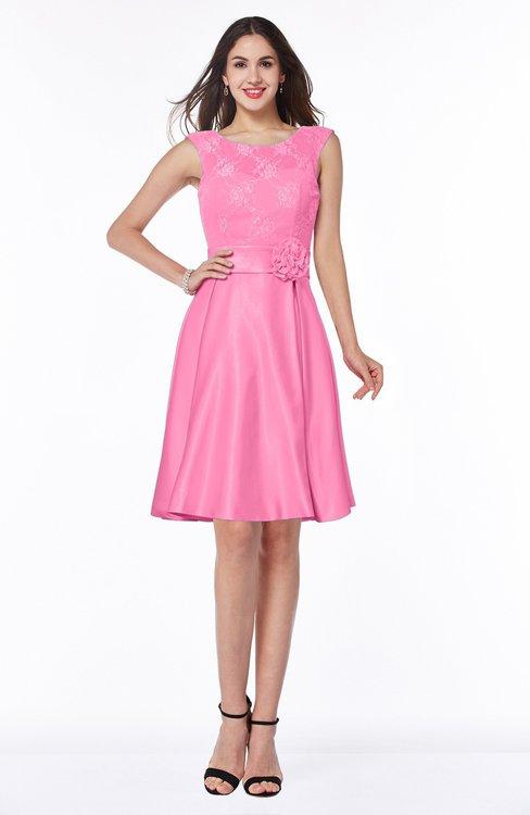 ColsBM Delilah Carnation Pink Informal A-line Jewel Sleeveless Sash Plus Size Bridesmaid Dresses