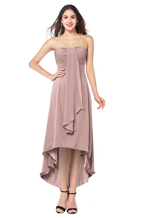 ColsBM Emilee Blush Pink Sexy A-line Sleeveless Half Backless Asymmetric Plus Size Bridesmaid Dresses