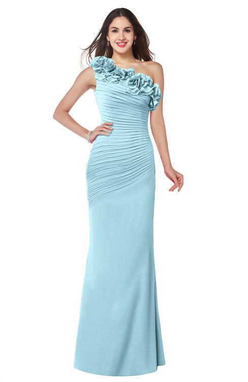 ColsBM Lisa Aqua Sexy Fit-n-Flare Sleeveless Half Backless Chiffon Flower Plus Size Bridesmaid Dresses