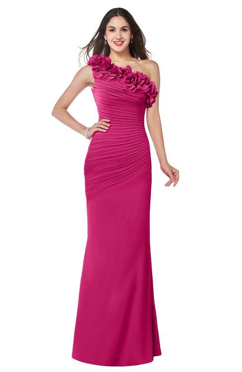 ColsBM Lisa Beetroot Purple Sexy Fit-n-Flare Sleeveless Half Backless Chiffon Flower Plus Size Bridesmaid Dresses