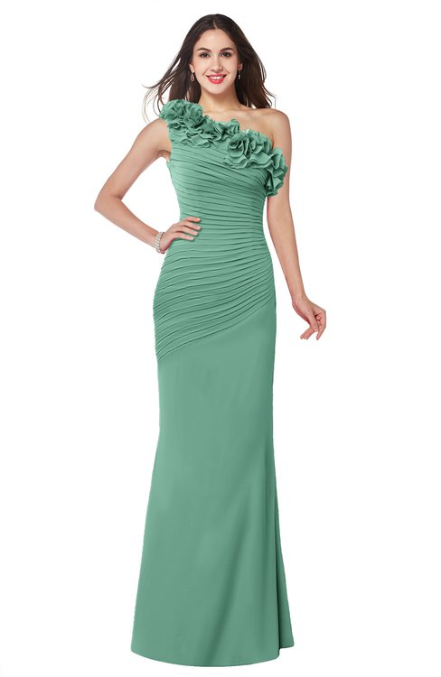 ColsBM Lisa Beryl Green Sexy Fit-n-Flare Sleeveless Half Backless Chiffon Flower Plus Size Bridesmaid Dresses