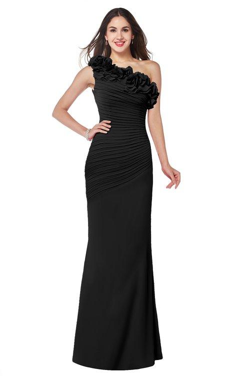 ColsBM Lisa Black Sexy Fit-n-Flare Sleeveless Half Backless Chiffon Flower Plus Size Bridesmaid Dresses