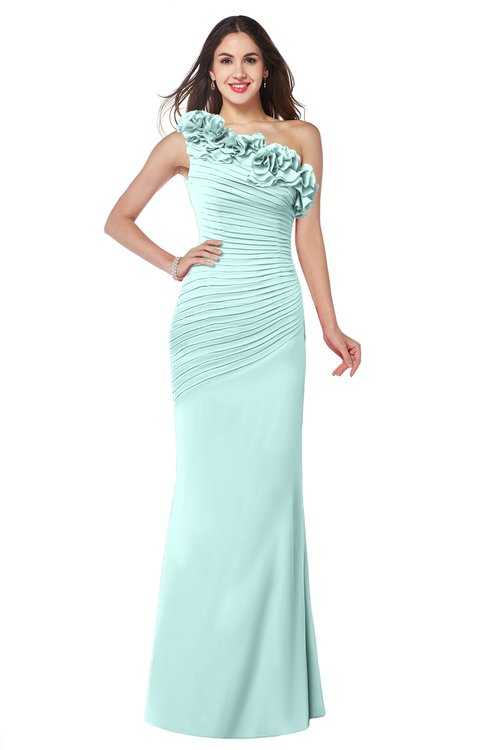 ColsBM Lisa Blue Glass Sexy Fit-n-Flare Sleeveless Half Backless Chiffon Flower Plus Size Bridesmaid Dresses