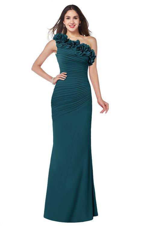 ColsBM Lisa Blue Green Sexy Fit-n-Flare Sleeveless Half Backless Chiffon Flower Plus Size Bridesmaid Dresses
