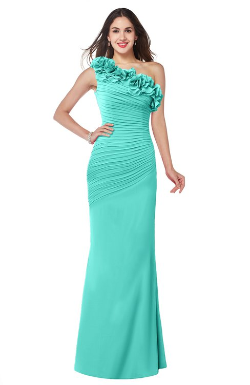 ColsBM Lisa Blue Turquoise Sexy Fit-n-Flare Sleeveless Half Backless Chiffon Flower Plus Size Bridesmaid Dresses