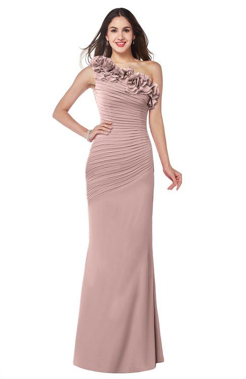 ColsBM Lisa Blush Pink Sexy Fit-n-Flare Sleeveless Half Backless Chiffon Flower Plus Size Bridesmaid Dresses