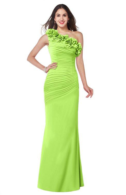 ColsBM Lisa Bright Green Sexy Fit-n-Flare Sleeveless Half Backless Chiffon Flower Plus Size Bridesmaid Dresses