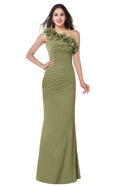 ColsBM Lisa Cedar Sexy Fit-n-Flare Sleeveless Half Backless Chiffon Flower Plus Size Bridesmaid Dresses